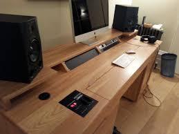 custom built recording studio desk built to house doepfer lmk2 real wood ash veneer
