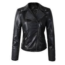 2017 new women leather jackets fashion female rivet winter motorcycle brand coat outwear drop