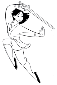 Small Picture Mulan coloring pages practicing sword ColoringStar
