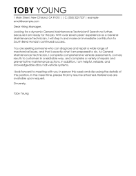 Maintenance Cover Letter Leading Professional General Maintenance Technician Cover Letter 5
