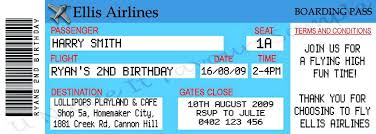 Plane Ticket Invitation Template Fake Free Printable Airline Tick On ...