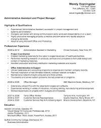 Sample Administrative Assistant Resume Highlights Of Qualifications