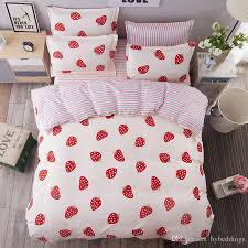 white red strawberry bedding sets single double queen king size bedding duvet cover sheet set bedlinen whole clearance bedding beautiful bedding from
