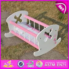 2016 lovely wooden pink baby toy doll bed baby doll furniture rocking bed cradle