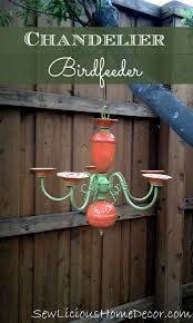 chandelier birdfeeder patio decor