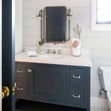 white painted design ideas shiplap bathroom with navy blue vanity