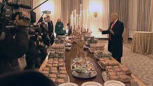 Image result for Donald Trump brags about serving McDonald's 'hamberders' at White House