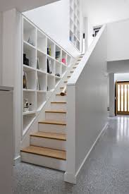 staircase and shelf cubbies lakehouse