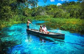 Boat tour at the blue turquoise Sucuri river in Bonito, Mato Grosso do Sul  in Brazil - Humboldt Travel