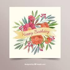 Gifs buon compleanno fiori per la ragazza immagini animate. Scheda Di Buon Compleanno Con Fiori In Stile Acquerello Vettore Gratis