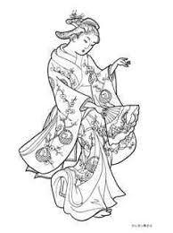 梅鶴の柄の着物で踊る女性の塗り絵ー西川祐信の浮世絵 大人の塗り絵ー