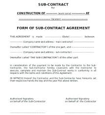 Subcontractor Agreement Format Free Subcontractor Agreement Template South Africa New Construction