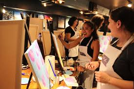 the las of q nyc enjoyed a night of painting and wine managed by