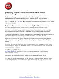 Katy Spring Is Pleased To Announce The Promotion Of Ryan Thorpe To