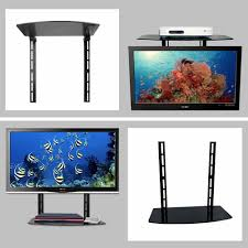 glass shelf rack above below tv wall mount bracket component cable box dvr dvd