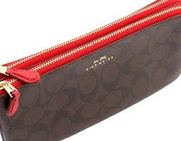 Coach Signature Double Zip Wallet in Brown True Red, F54057 IML72   Amazon.ca  Shoes   Handbags