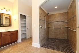 handicap accessible bathroom design. Handicapped Accessible Master Bathroom With Roll In Shower, Under Vanity. Framed Mirrors. Sliding Door Closets. Handicap Design