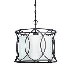 canarm monica 13 5 in oil rubbed bronze wrought iron single cage pendant