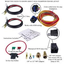 champion cooling 180 degree 40amp electric fan relay kit dr single fedex ground service to the lower 48 states shipping