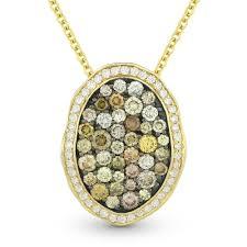 details about 1 25ct fancy color diamond pave pendant chain necklace 14k yellow black gold