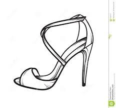 shoes heels drawing. royalty-free vector. download woman shoes summer heels elegant hand drawn drawing