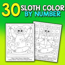 Animals coloring pages are pictures of many different species of animals to color. Color By Numbers Sloths A Super Cute Large Print Coloring Etsy