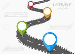 Road Infographic Template With Colorful Pin Pointer Royalty Free