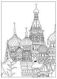 Free Adult Coloring Page Of The Saint Basil S Cathedral In Red