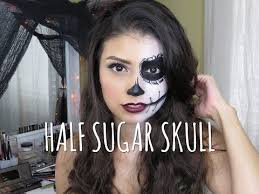 easy half sugar skull makeup tutorial you