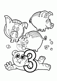 Small Picture Number 3 coloring pages for preschoolers counting numbers