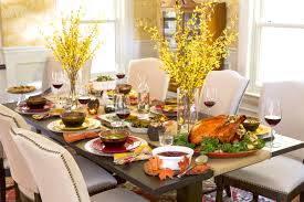 Beautiful Thanksgiving Centerpieces : Attractive Dining Room Decoration For  Thanksgiving Day With Rectangular Dark Tabletop Plus ...