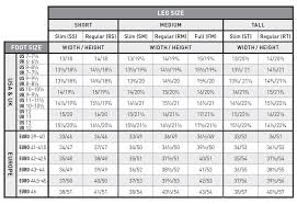 Boot Wide Size Chart Size Charts