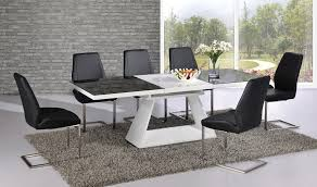 black glass white high gloss extending dining table with 8