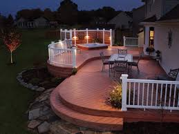 deck wrought iron table. Perfect Outdoor Lighting With Exceptional Deck Ideas For Small Yard Design Using White Wooden Railing And Wrought Iron Furniture Set Table C