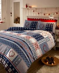 double bed duvet cover set blue hearts white snow flake checked multi festive