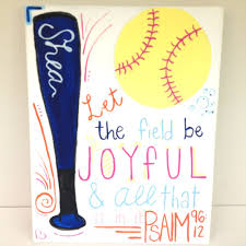 Painted For My Best Friend For Her Birthday Softball Canvas Glue