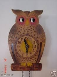 vintage german wood owl wall clock