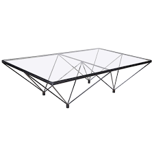 20th century black steel and glass coffee table for
