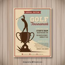 Golf Tournament Flyer In Vintage Style Vector Free Download