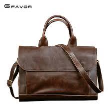 G FAVOR <b>Retro Men's Briefcase Crazy</b> Horse Leather Laptop ...