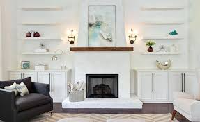 small shelves around fireplace