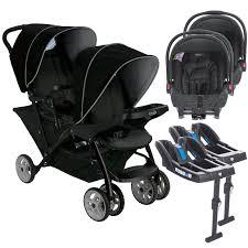 graco stadium duo double pram twin travel system with 2 snugride car seat bases black grey at 4baby