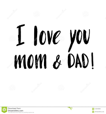 hand drawn lettering e i love you mom and dad
