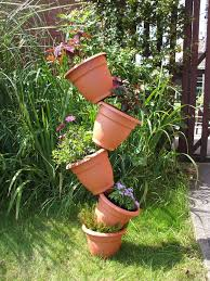 decoration: Spacious Garden With Grass And Plants Also Creative Flower Pots  Made Of Plastic Material
