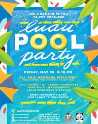 Hawaiian Pool Party Invitations Luau Pool Party The Campus Crop