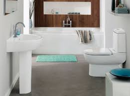 Blue And Tan Bathroom White Toilet On The Black Ceramic Tile Floor ...