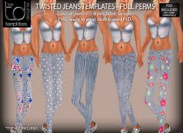 Create Your Own Pants Second Life Marketplace Td Templates Twisted Jeans Set