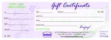 gift certificates coupons shady lane greenhouses image of gift certificate