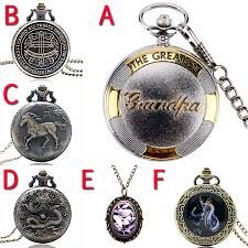 details about vintage antique bronze necklace chain quartz pocket watch pendant watches gifts