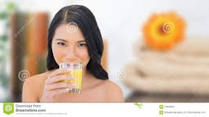 Composite Image Of Sensual Nude Model Drinking Orange Juice Stock.